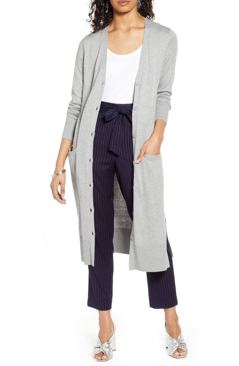 HALOGEN<SUP>®</SUP> V-Neck Long Cardigan, Main, color, GREY HEATHER