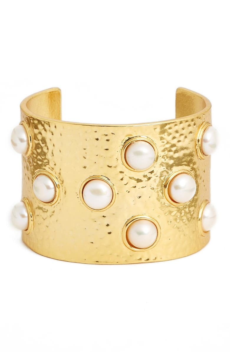 KARINE SULTAN Hammered Imitation Pearl Cuff, Main, color, 710