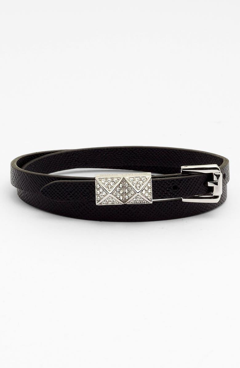 MICHAEL MICHAEL KORS Michael Kors Leather Double Wrap Bracelet, Main, color, 001