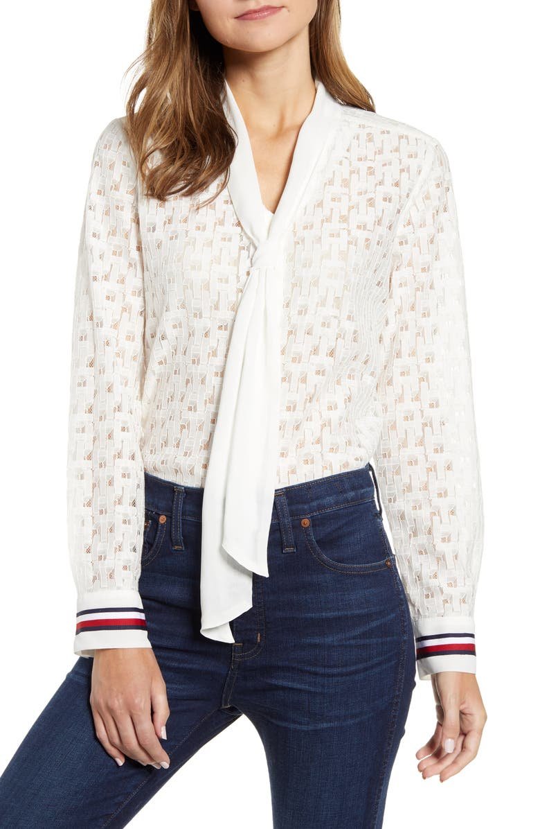 TOMMY HILFIGER Tie Front Lace Button Up Top, Main, color, BRIGHT WHITE