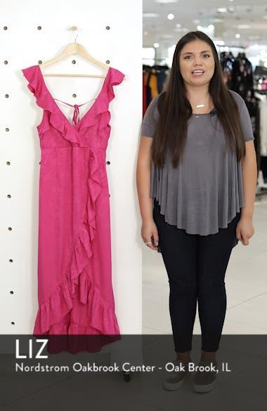 Jacquard Ruffle Faux Wrap Midi Dress, sales video thumbnail