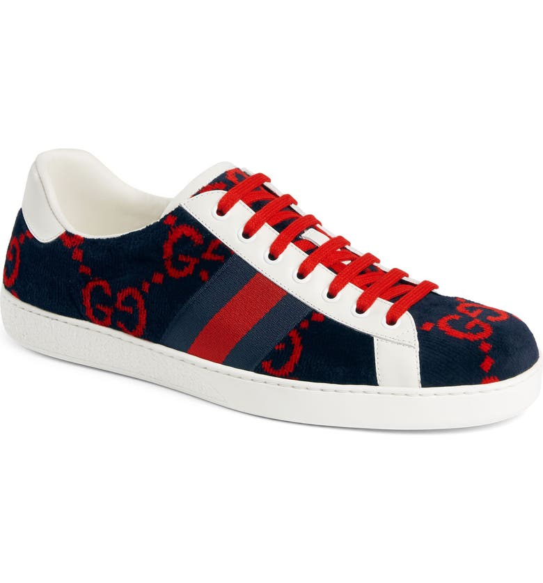 GUCCI New Ace GG Logo Sneaker, Main, color, MULTI BLUE