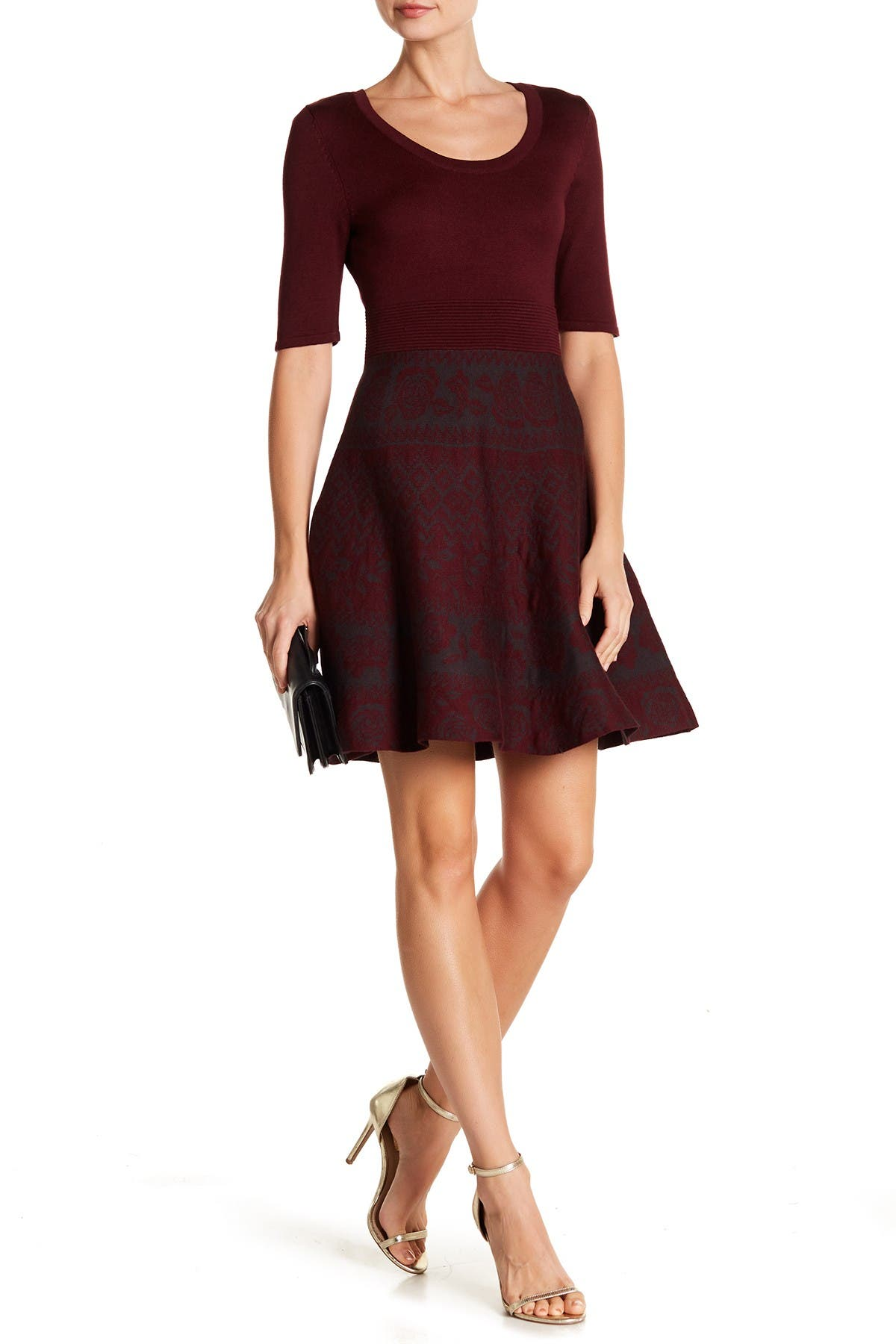 Image of Nina Leonard Scoop Neck Fit & Flare Knit Dress