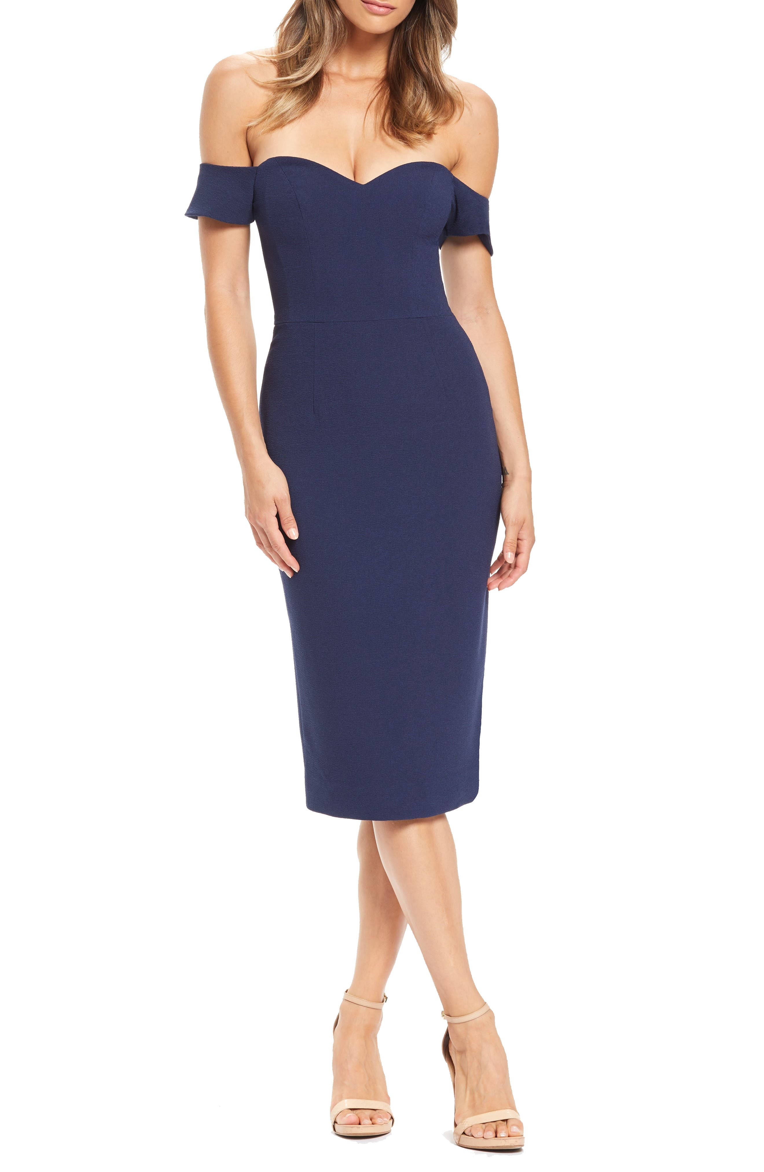 Dress The Population Bailey Off The Shoulder Body-Con Dress, Blue