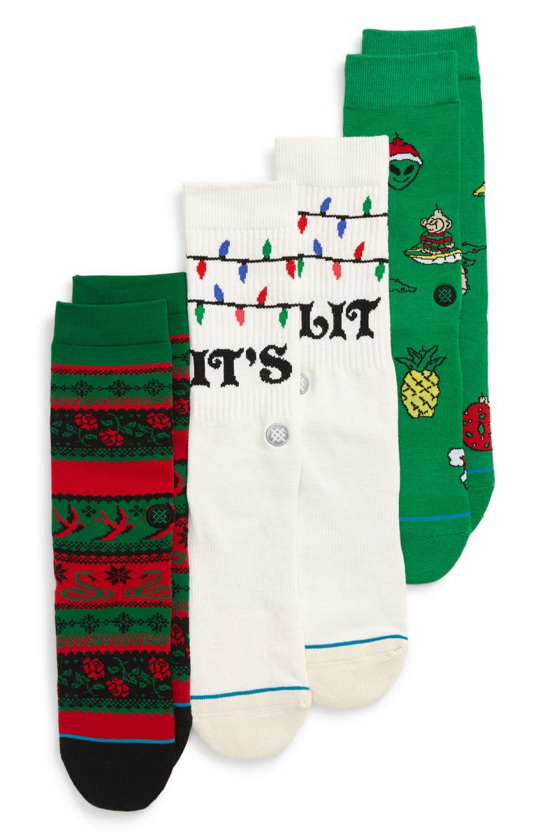 STANCE 3-Pack Ornaments Crew Socks, Main, color, 300