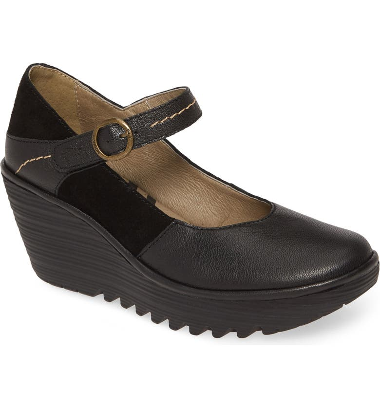 FLY LONDON Yuko Wedge Mary Jane Pump, Main, color, BLACK OIL SUEDE/ LEATHER