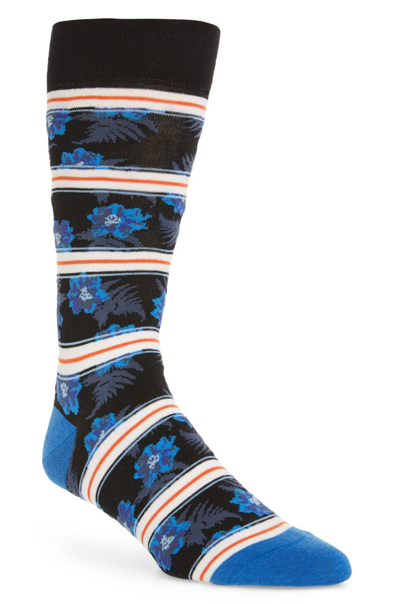 TED BAKER LONDON Graphic Floral Socks, Main, color, 400