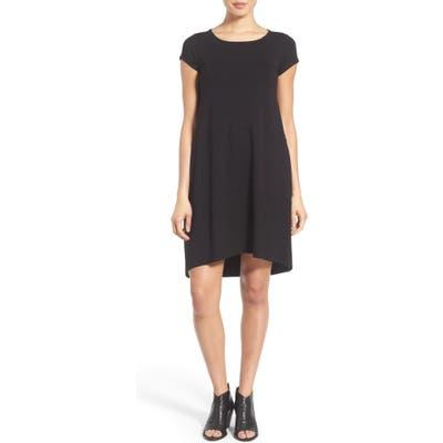Eileen Fisher Bateau Neck Cap Sleeve Dress, Black