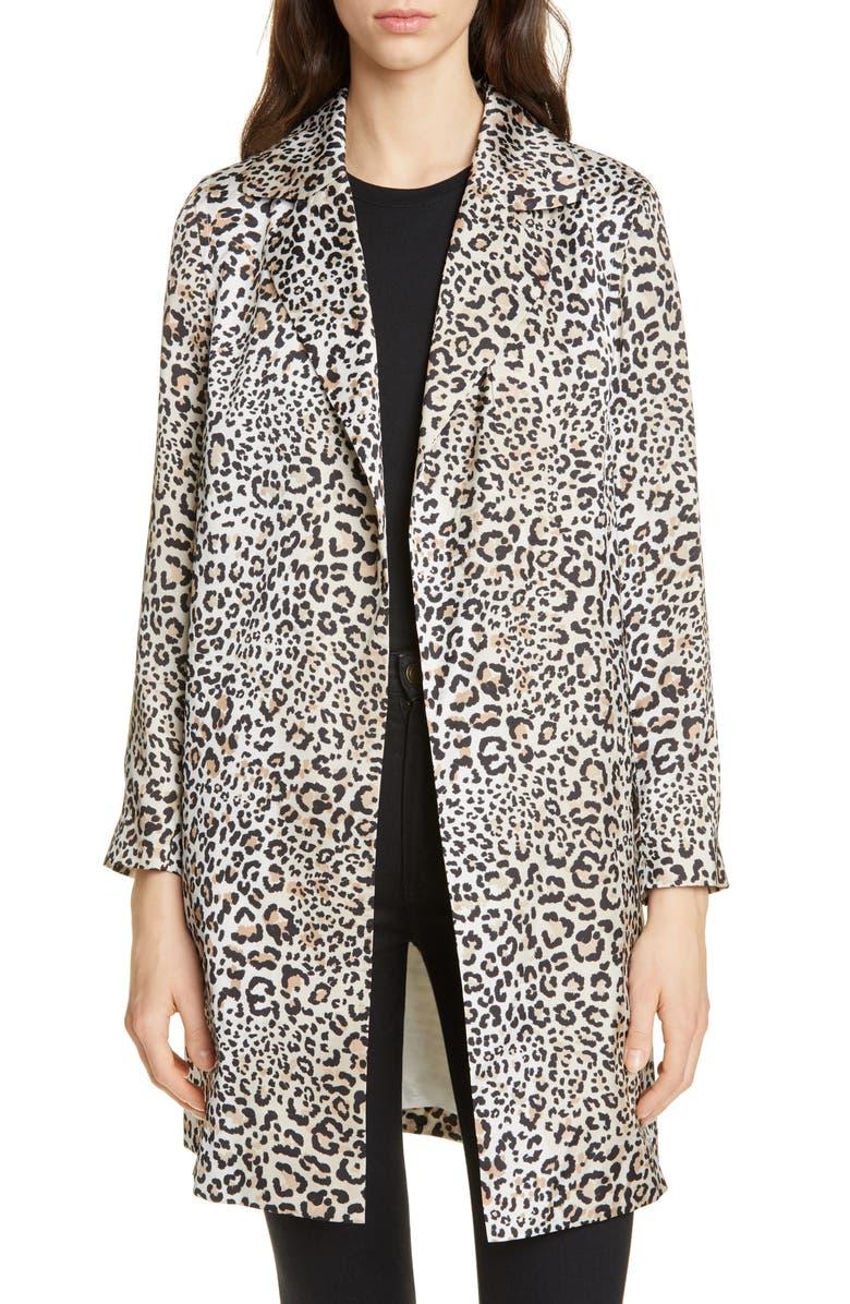 HELENE BERMAN Leopard Print Longline Jacket, Main, color, BROWN LEOPARD