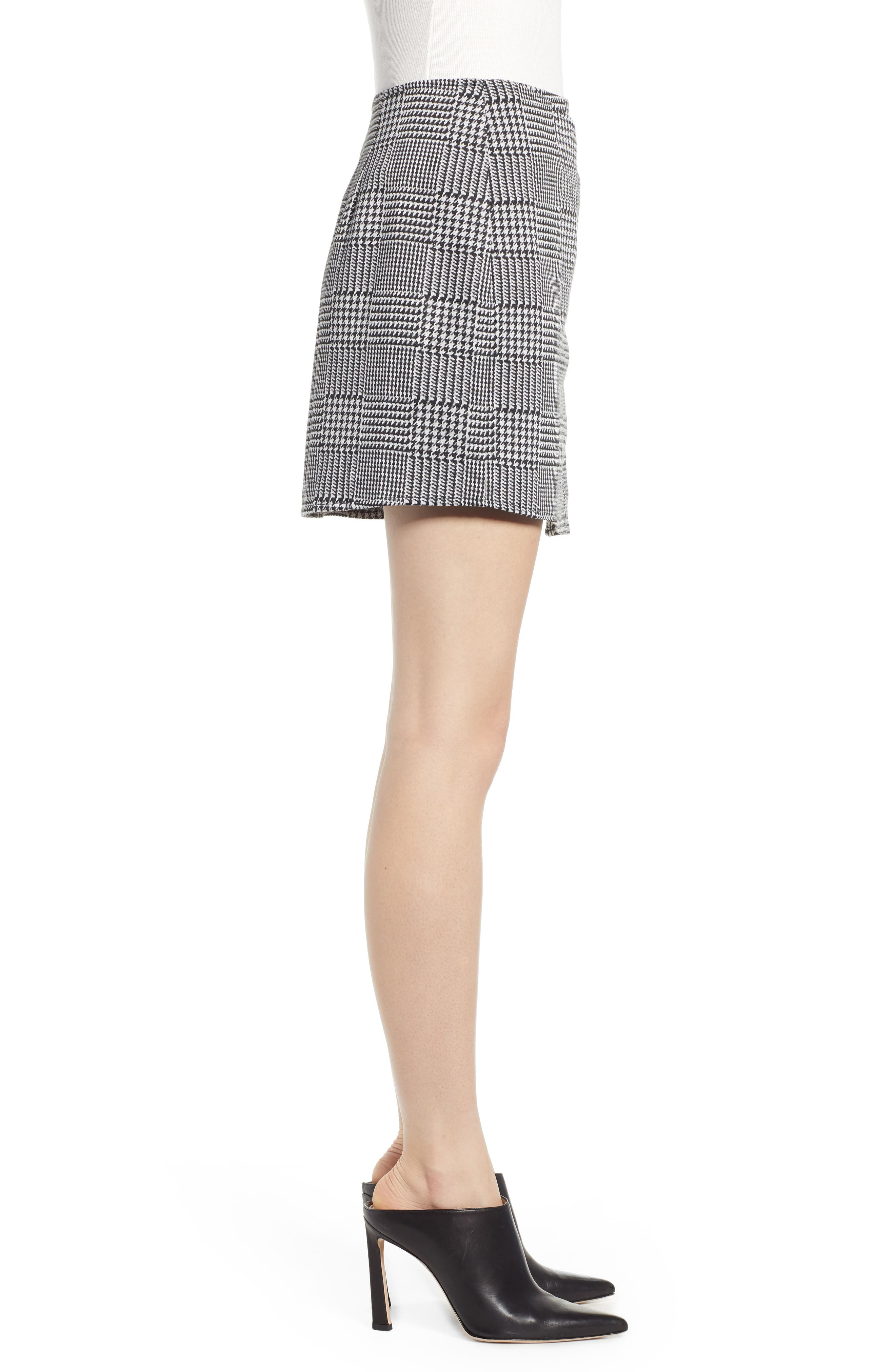 ,                             Houndstooth Check Button Wrap Skirt,                             Alternate thumbnail 3, color,                             PLAID