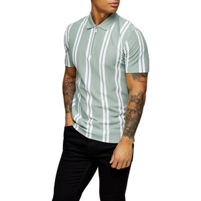 Topman Stripe Zip Pique Polo, Green