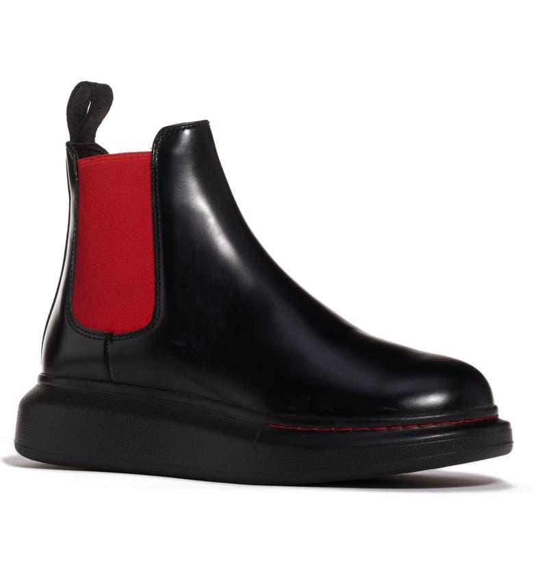 ALEXANDER MCQUEEN Platform Chelsea Bootie, Main, color, BLACK/ RED