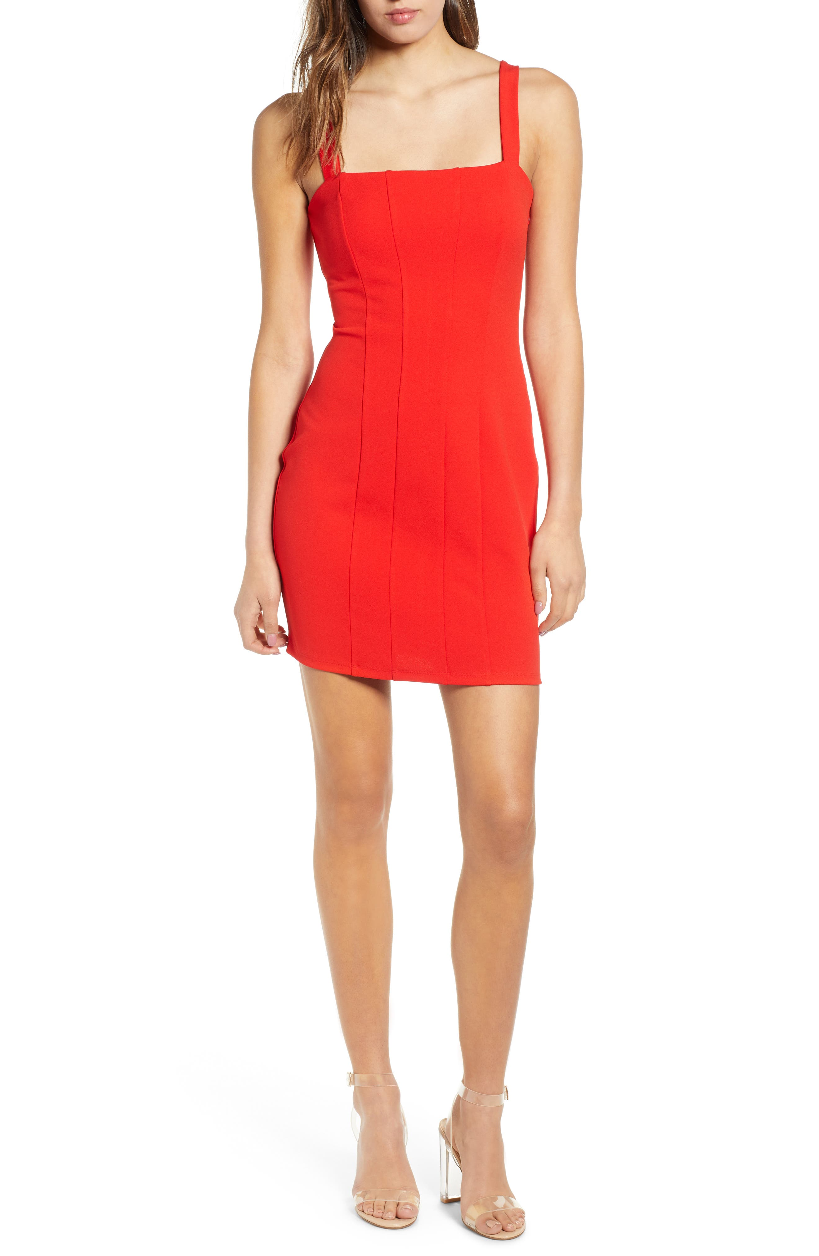 Leith Seamed Body-Con Dress, Red