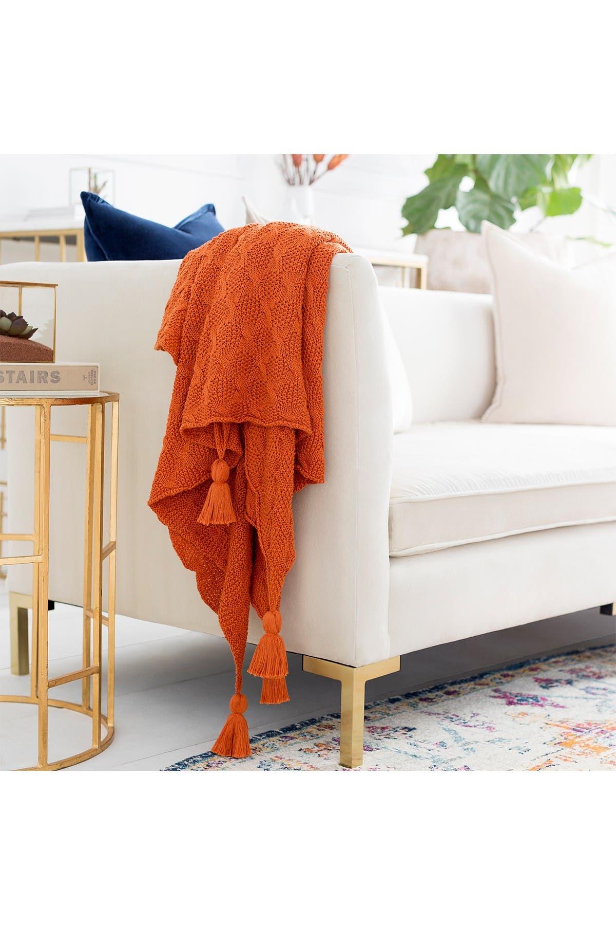 Image of SURYA HOME Bright Orange India Texture Throw
