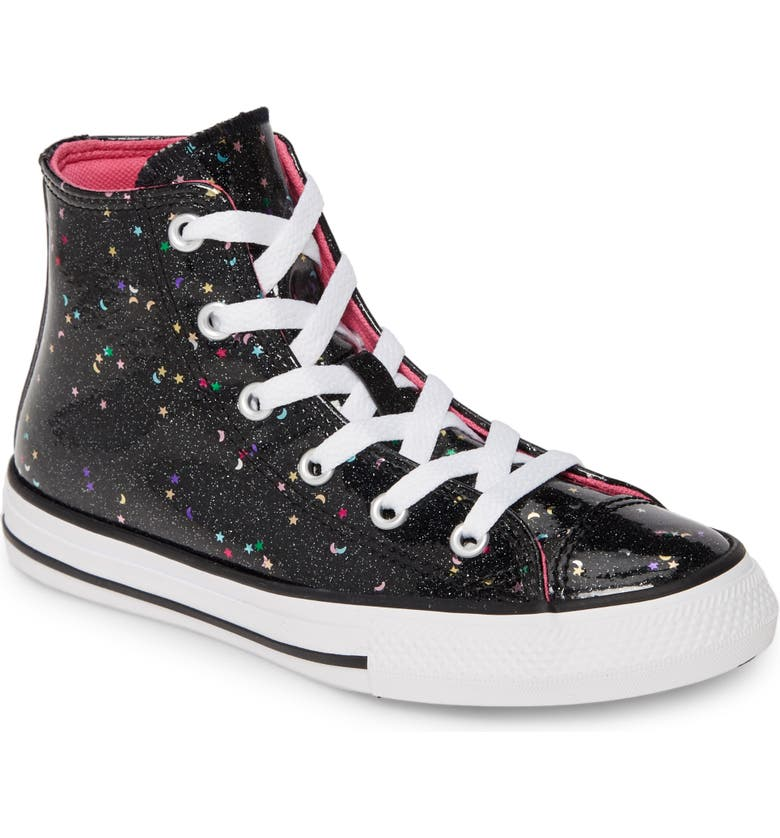 CONVERSE Chuck Taylor<sup>®</sup> All Star<sup>®</sup> Glitter Galaxy High Top Sneaker, Main, color, BLACK/ MOD PINK/ WHITE