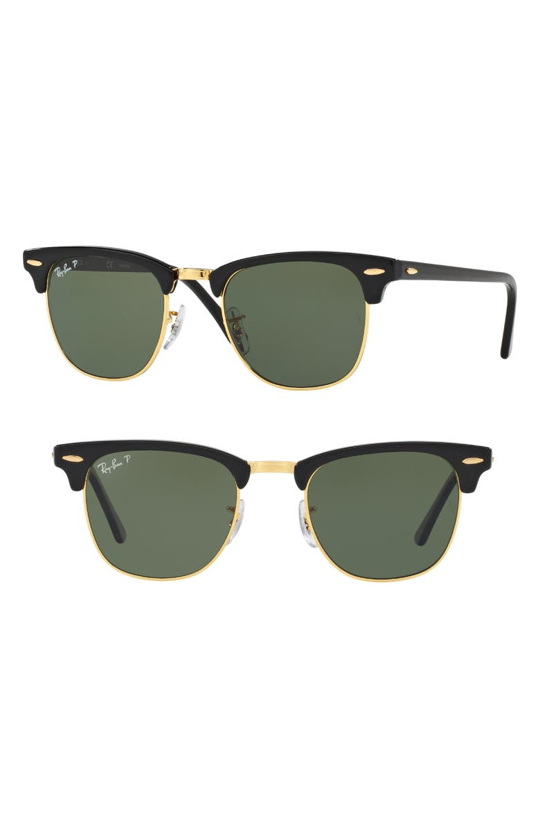 RAY-BAN 'Classic Clubmaster' 51mm Polarized Sunglasses, Main, color, 001