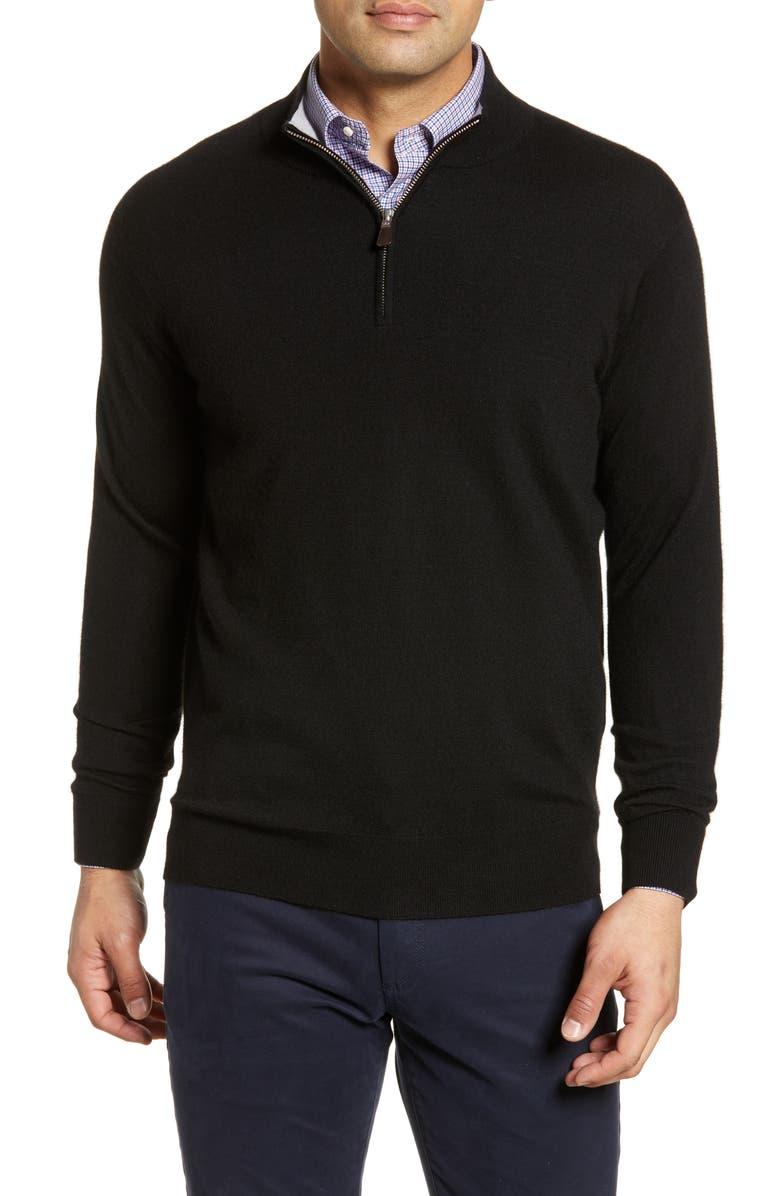 PETER MILLAR Crown Comfort Cash Quarter Zip Cashmere Blend Pullover, Main, color, BLACK