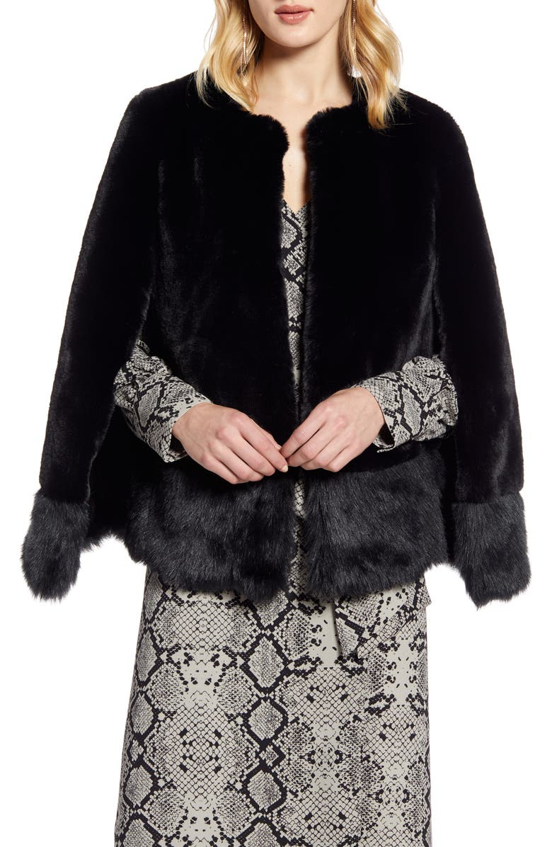 HALOGEN<SUP>®</SUP> Faux Fur Cape, Main, color, BLACK