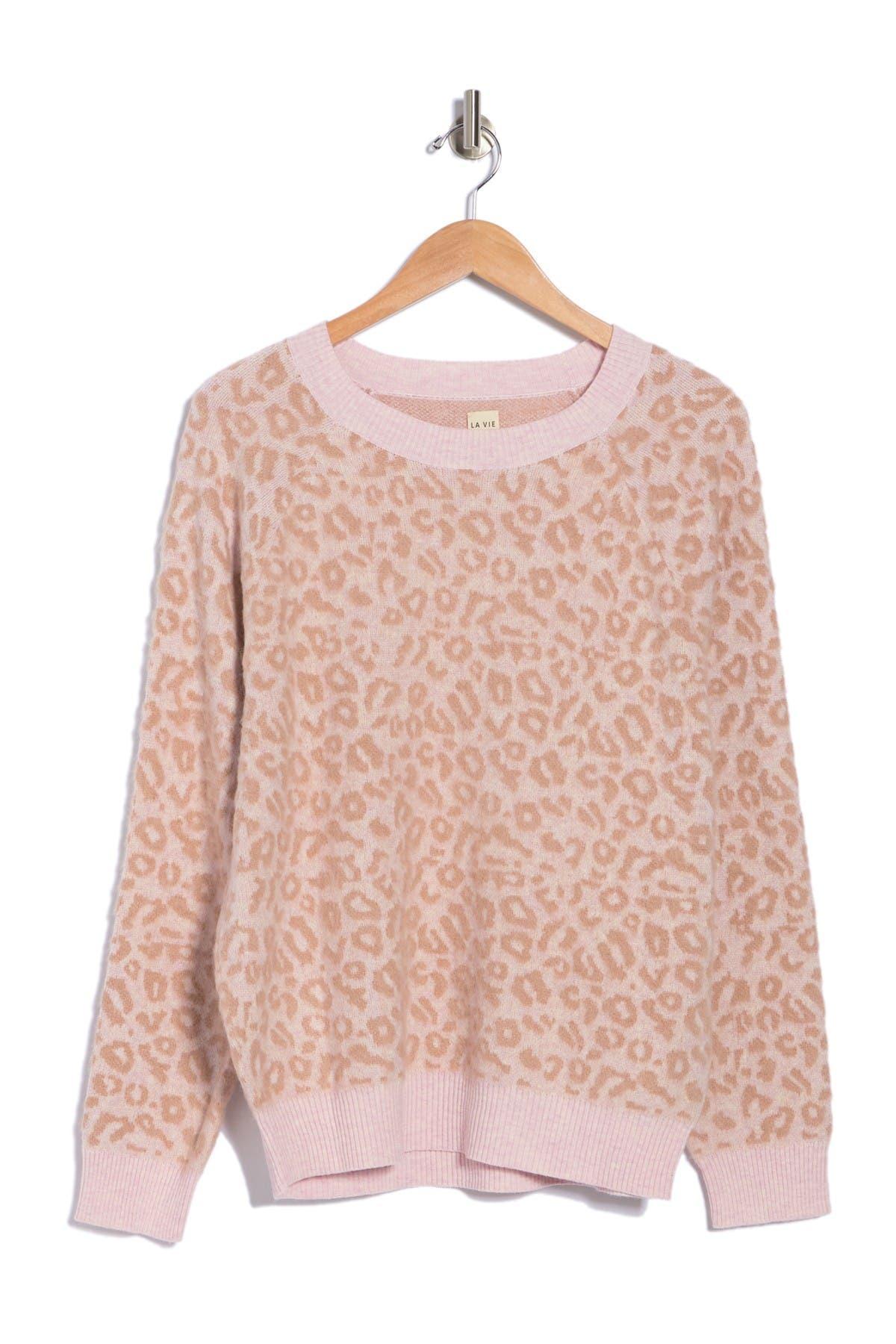Image of Rebecca Taylor Leopard Print Jacquard Sweater