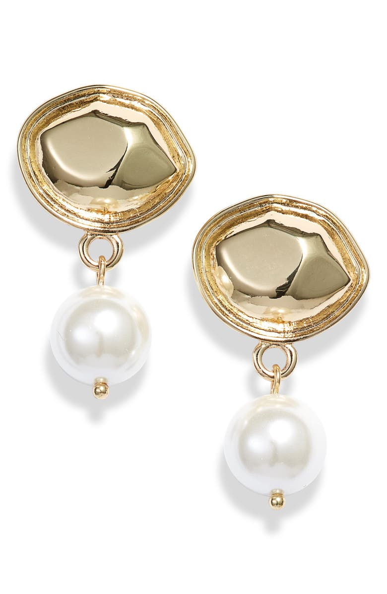 SOMETHING NAVY Imitation Pearl Drop Earrings, Main, color, WHITE- GOLD