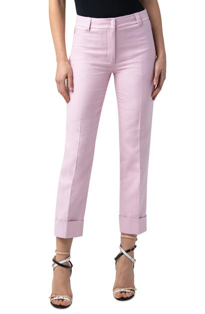 Akris MAXIMA CUFF CROP COTTON & SILK DOUBLE FACE PANTS