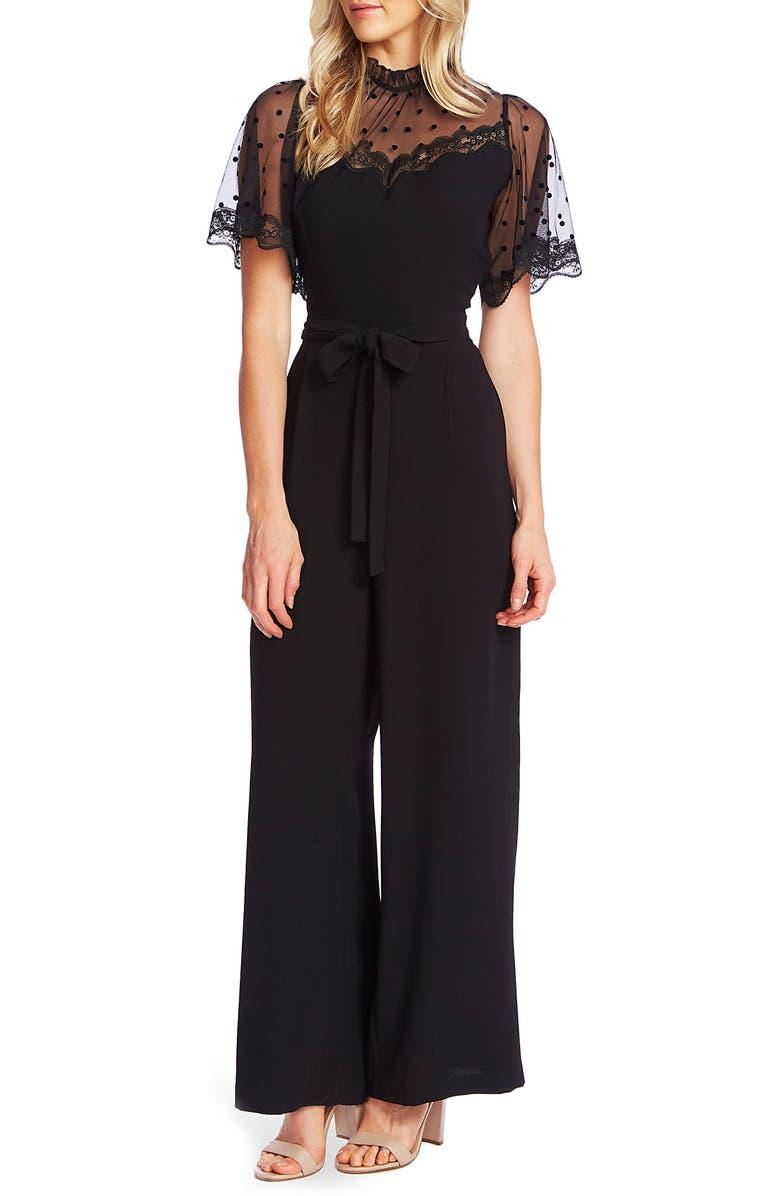 CECE Dotted Lace Detail Jumpsuit, Main, color, RICH BLACK