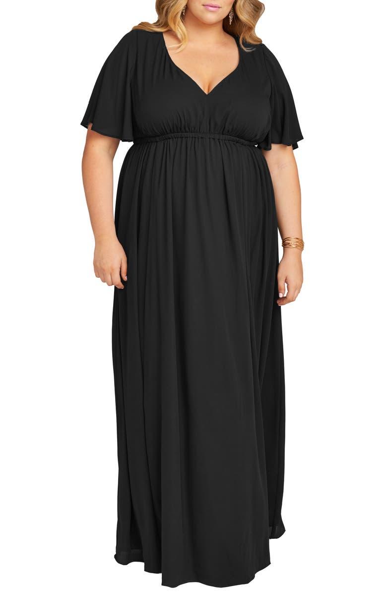 SHOW ME YOUR MUMU Emily A-Line Gown, Main, color, BLACK