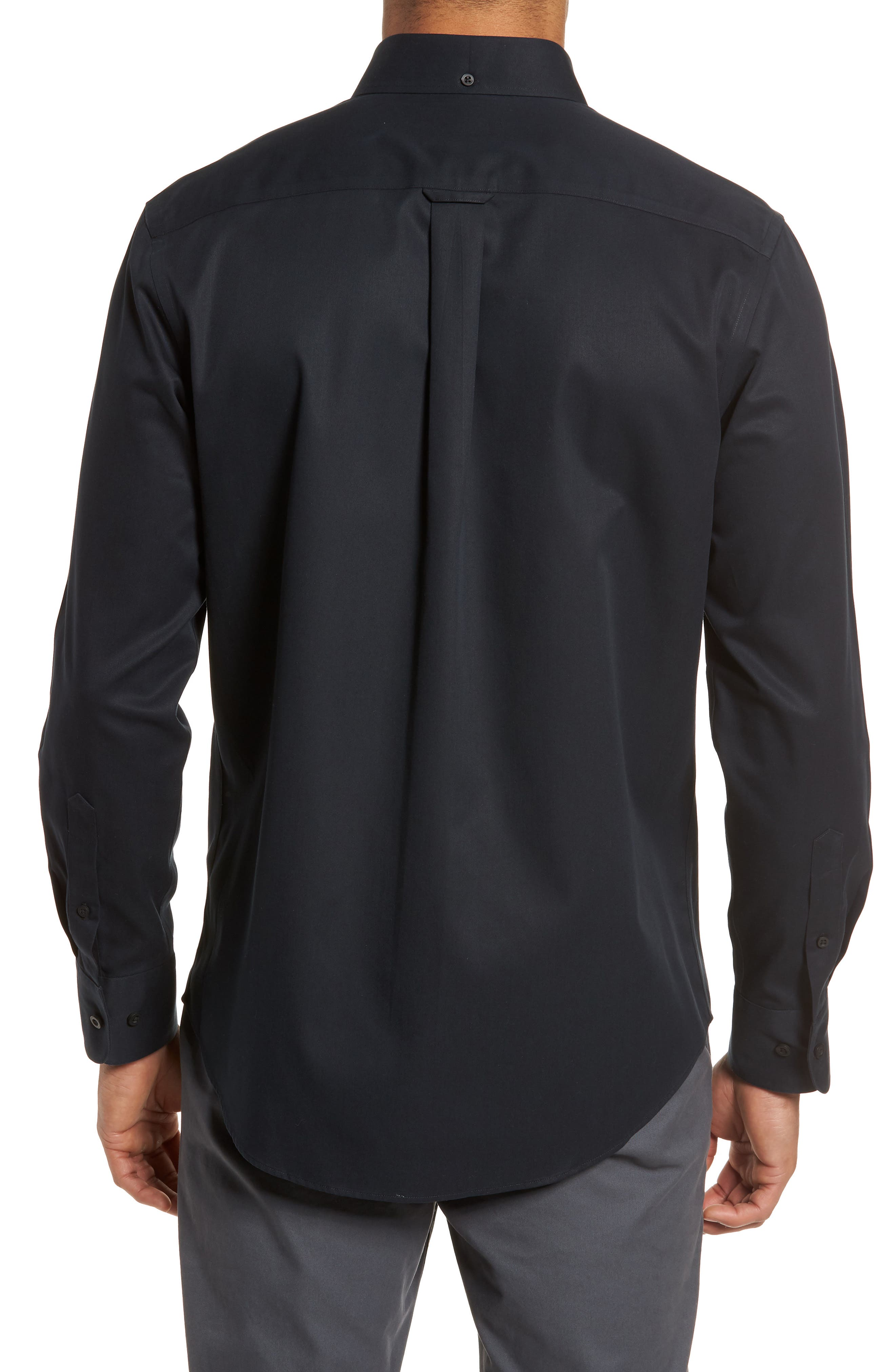 ,                             Smartcare<sup>™</sup> Traditional Fit Twill Boat Shirt,                             Alternate thumbnail 2, color,                             BLACK