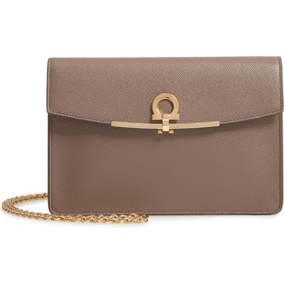 Salvatore Ferragamo Gancio Clip Leather Clutch - Grey