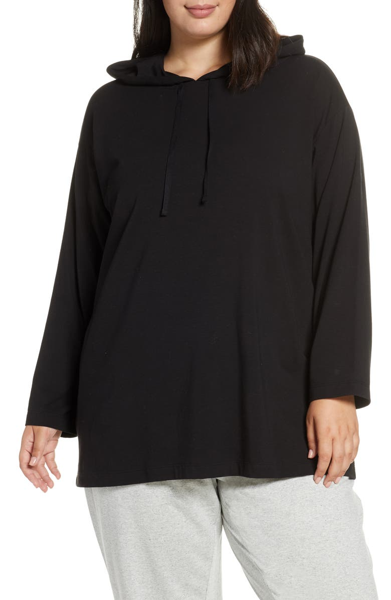 EILEEN FISHER Boxy Stretch Organic Cotton Hoodie, Main, color, BLACK