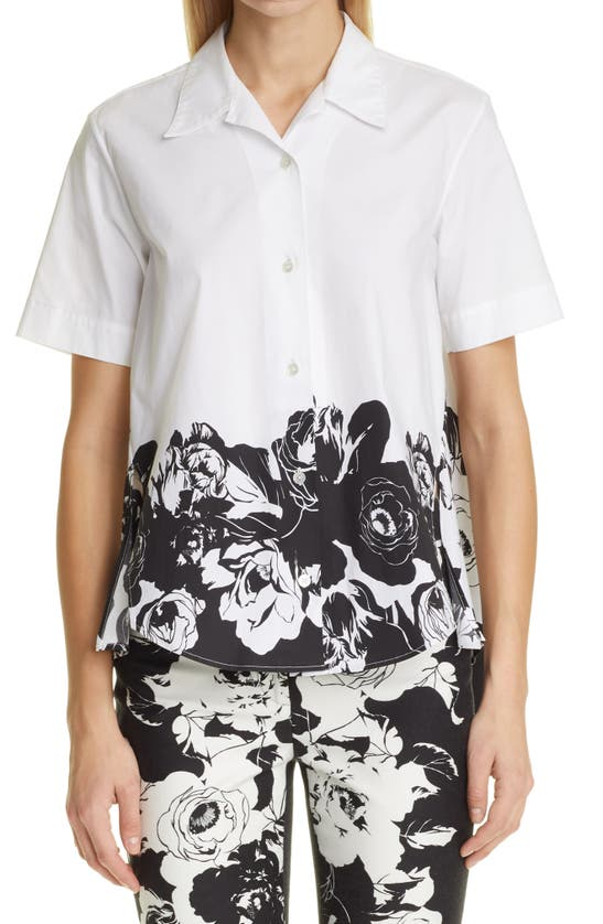 Adam Lippes FLORAL HIGH/LOW BUTTON-UP SHIRT