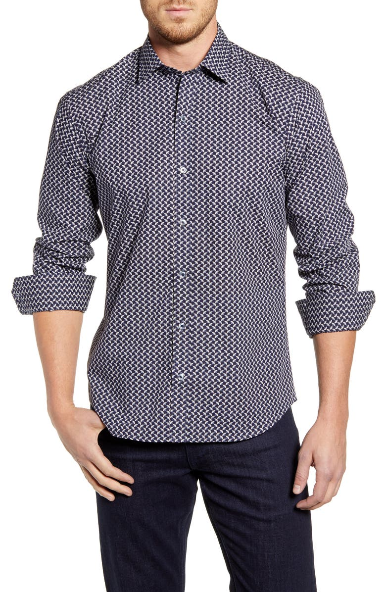 BUGATCHI Shaped Fit Button-Up Sport Shirt, Main, color, MIDNIGHT