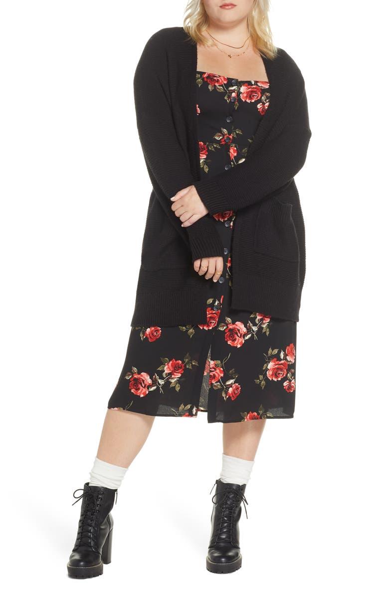 BP. x Claudia Sulewski Longline Cardigan, Main, color, BLACK