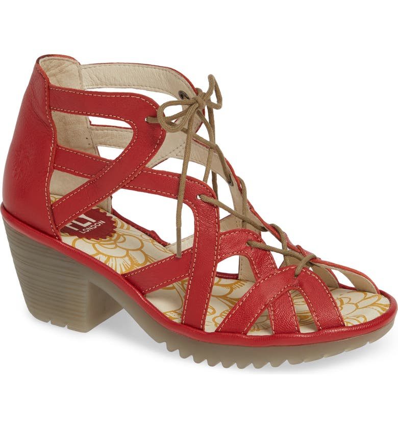 FLY LONDON Want Sandal, Main, color, LIPSTICK RED LEATHER