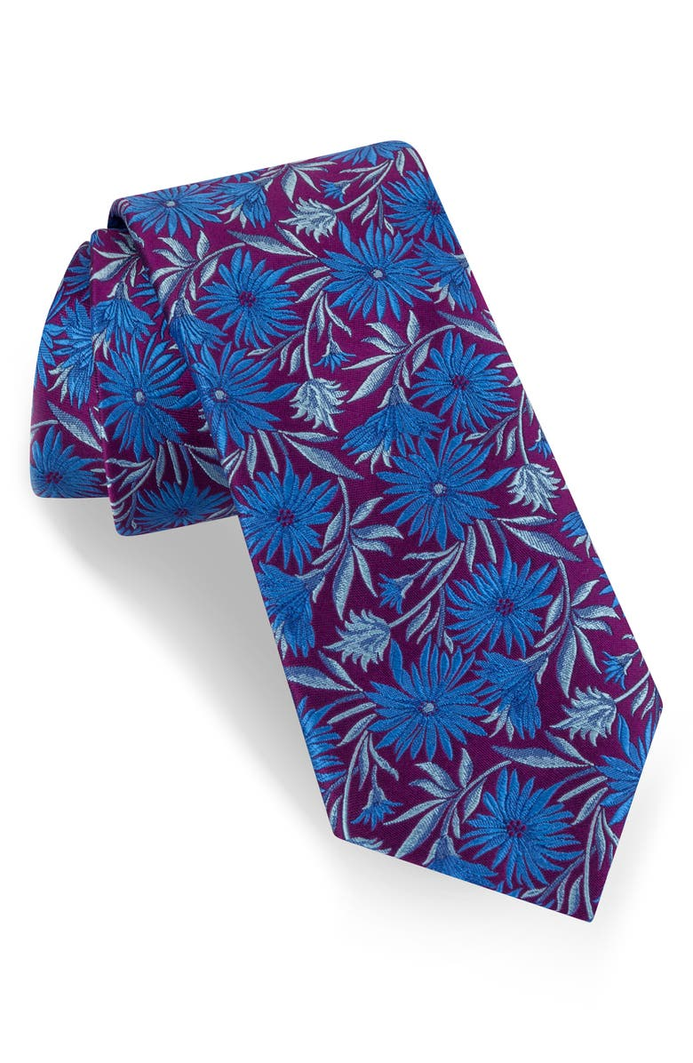 TED BAKER LONDON Floral Silk Tie, Main, color, PURPLE