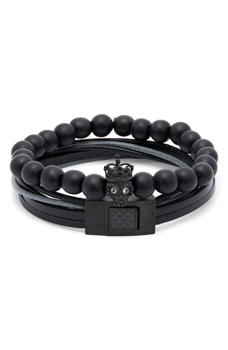 TATEOSSIAN 2-Piece Embellished King Skull Beaded Bracelet, Main, color, BLACK