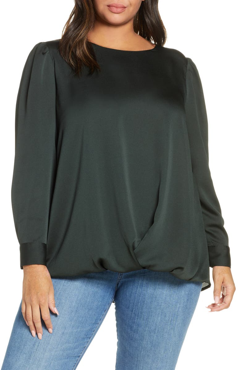 VINCE CAMUTO Hammer Satin Puff Shoulder Top, Main, color, DK WILLOW