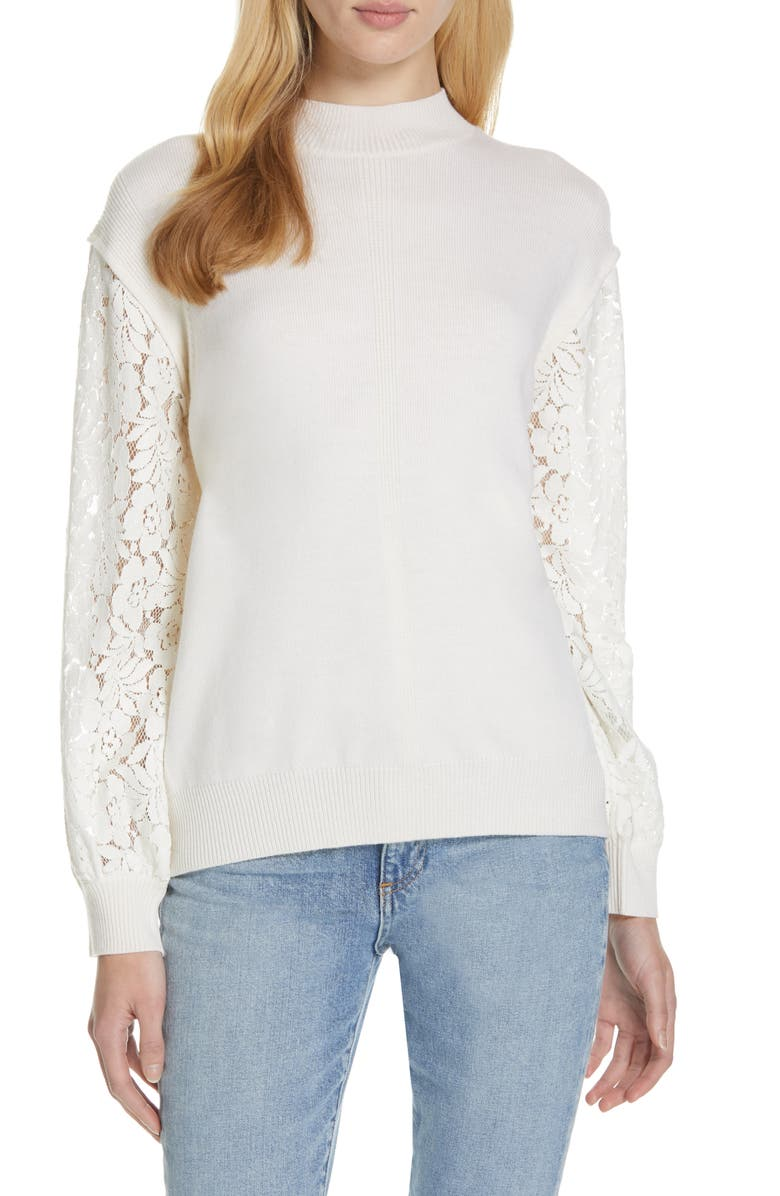CLU Lace Blouson Sleeve Sweater, Main, color, 900
