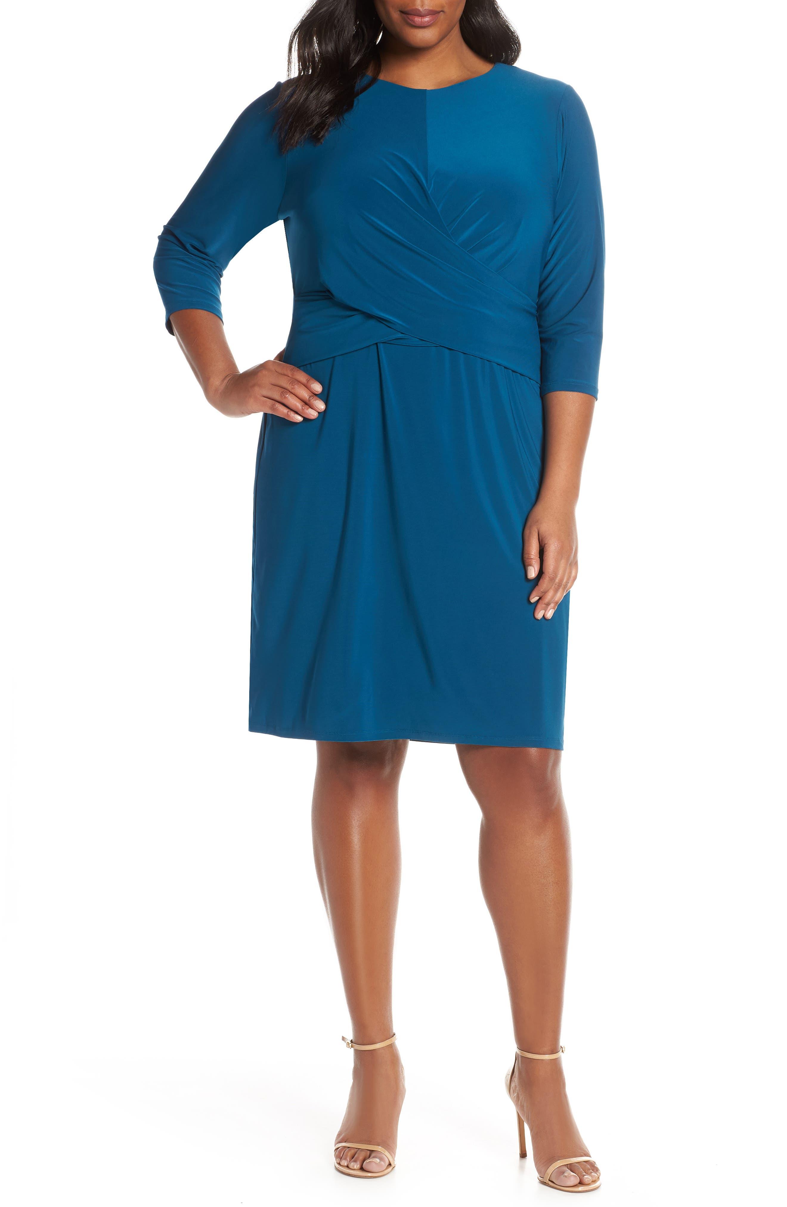 Plus Size Eliza J Ruched Waist Sheath Dress, Blue/green