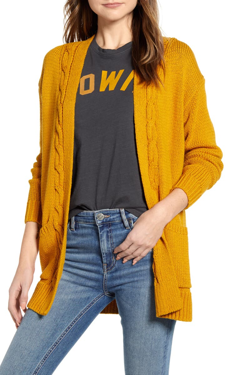 LUCKY BRAND Cable Accent Cotton Blend Cardigan, Main, color, MUSTARD