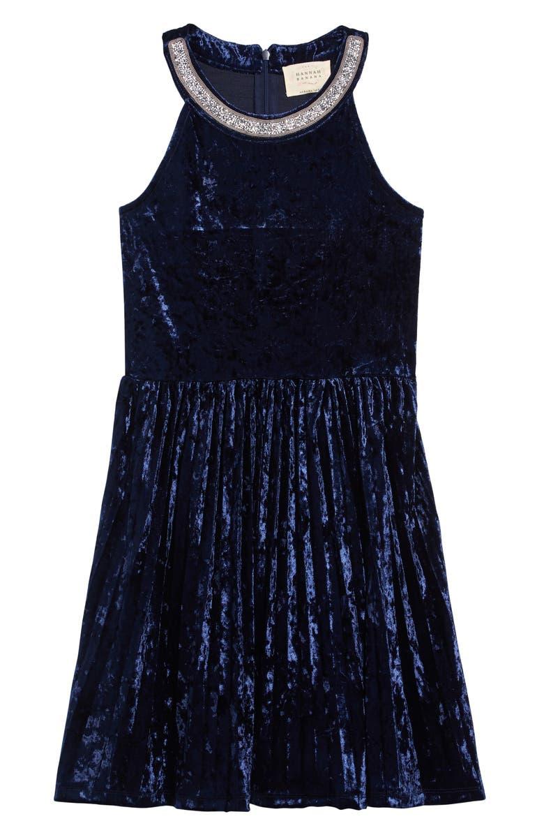 HANNAH BANANA Embellished Velvet Dress, Main, color, BLUE