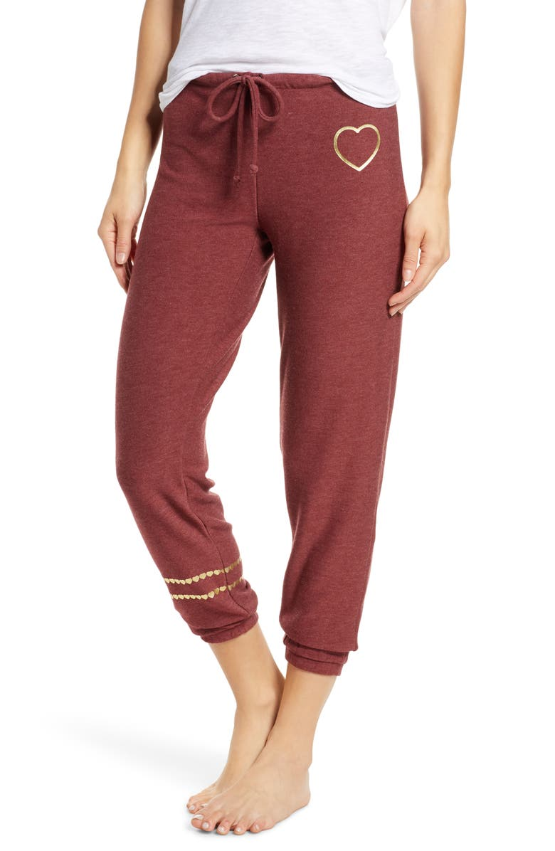 CHASER Cozy Knit Golden Heart Jogger Pants, Main, color, DARK RUBY