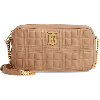 Burberry Tb Quilted Check Leather Camera Crossbody Bag - Beige