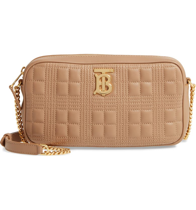 BURBERRY TB Quilted Check Leather Camera Crossbody Bag, Main, color, CAMEL