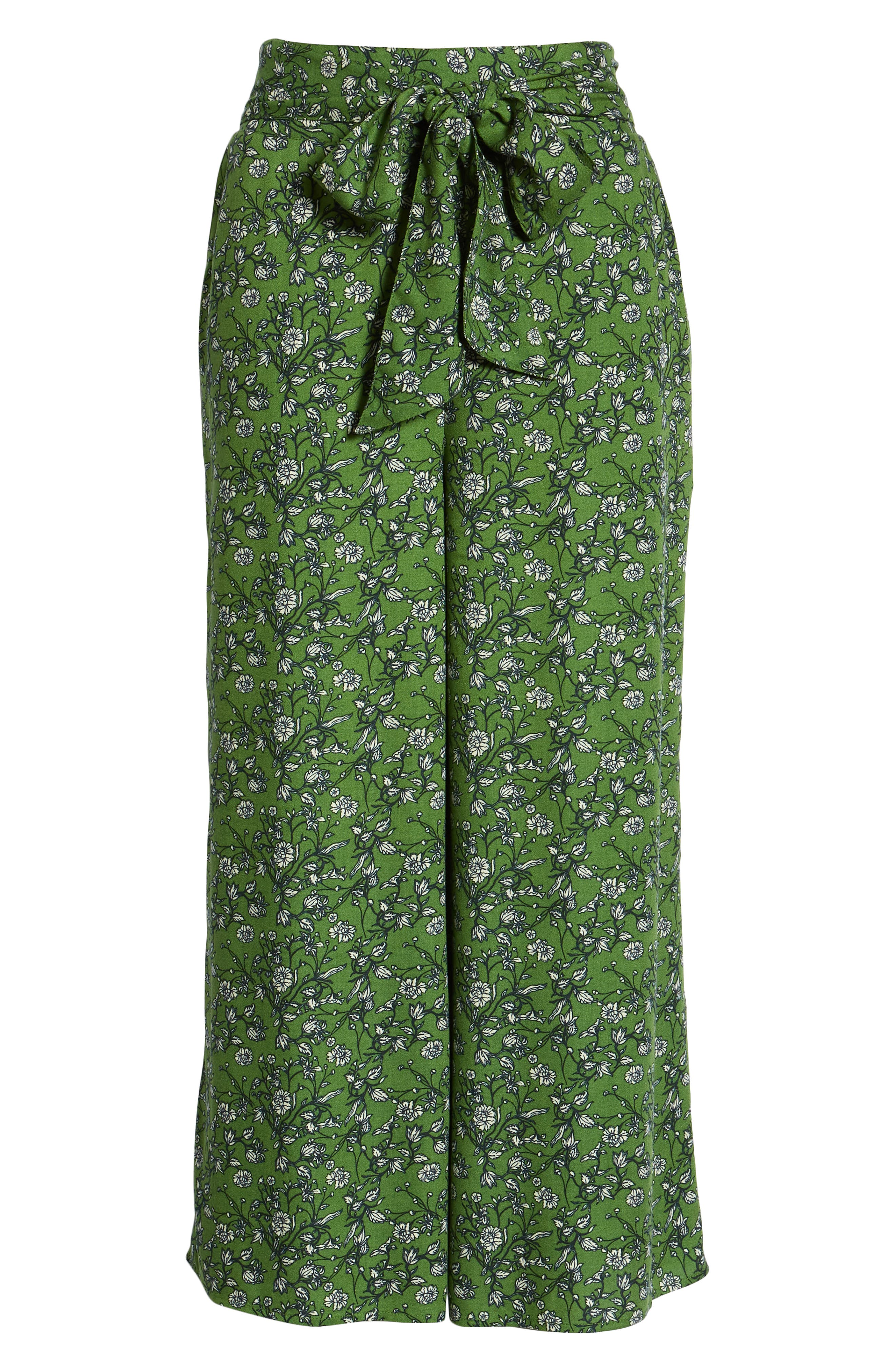 ,                             Print Wide Leg Crop Pants,                             Alternate thumbnail 7, color,                             GREEN CANOPY FLOWER BRANCHES