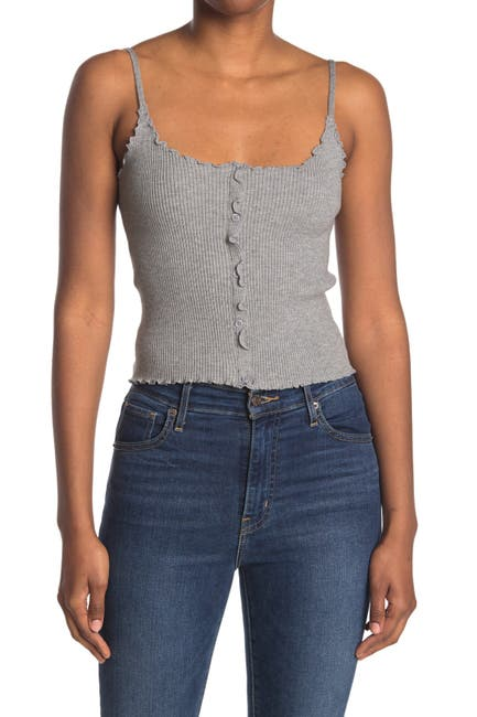 Image of Lush Button Front Ribbed Crop Camisole