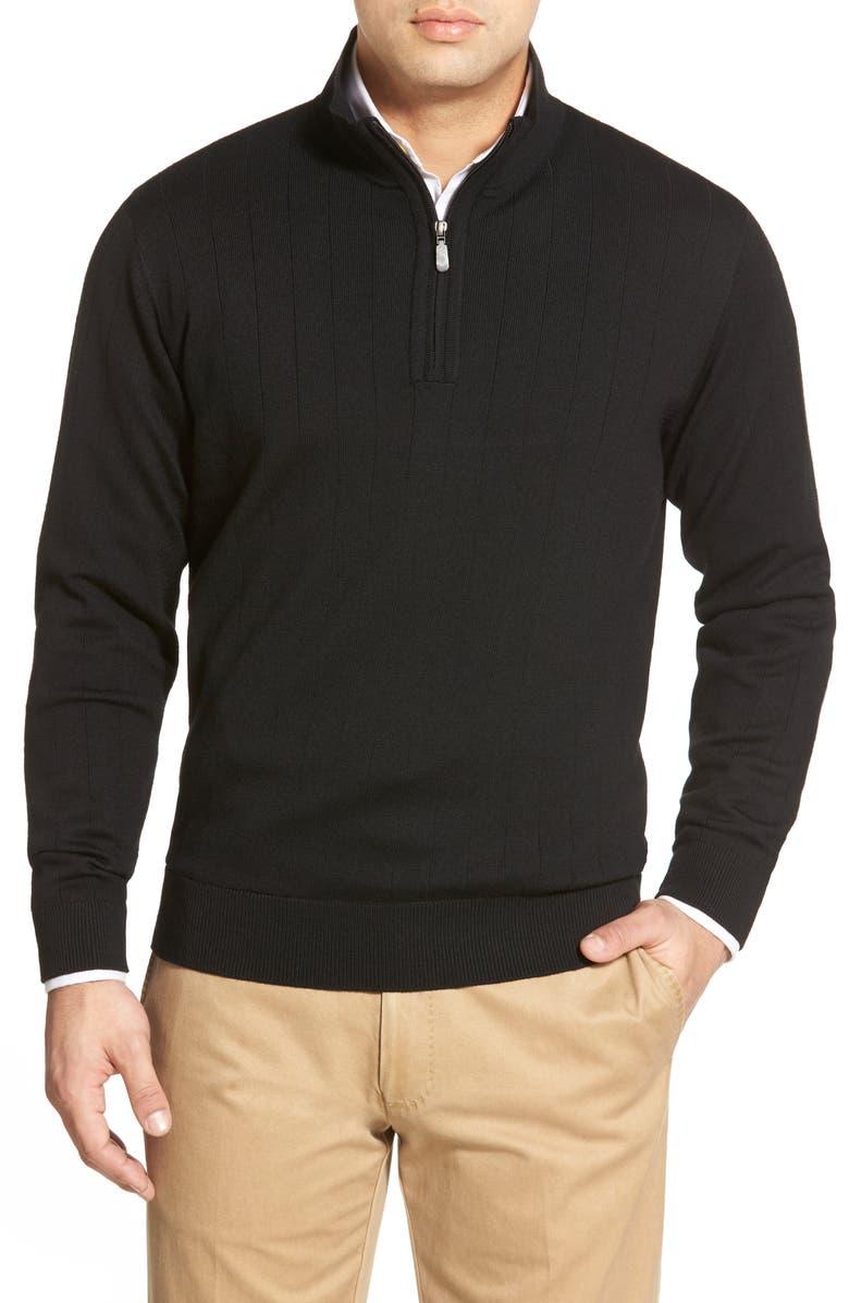 BOBBY JONES Windproof Merino Wool Quarter Zip Sweater, Main, color, BLACK