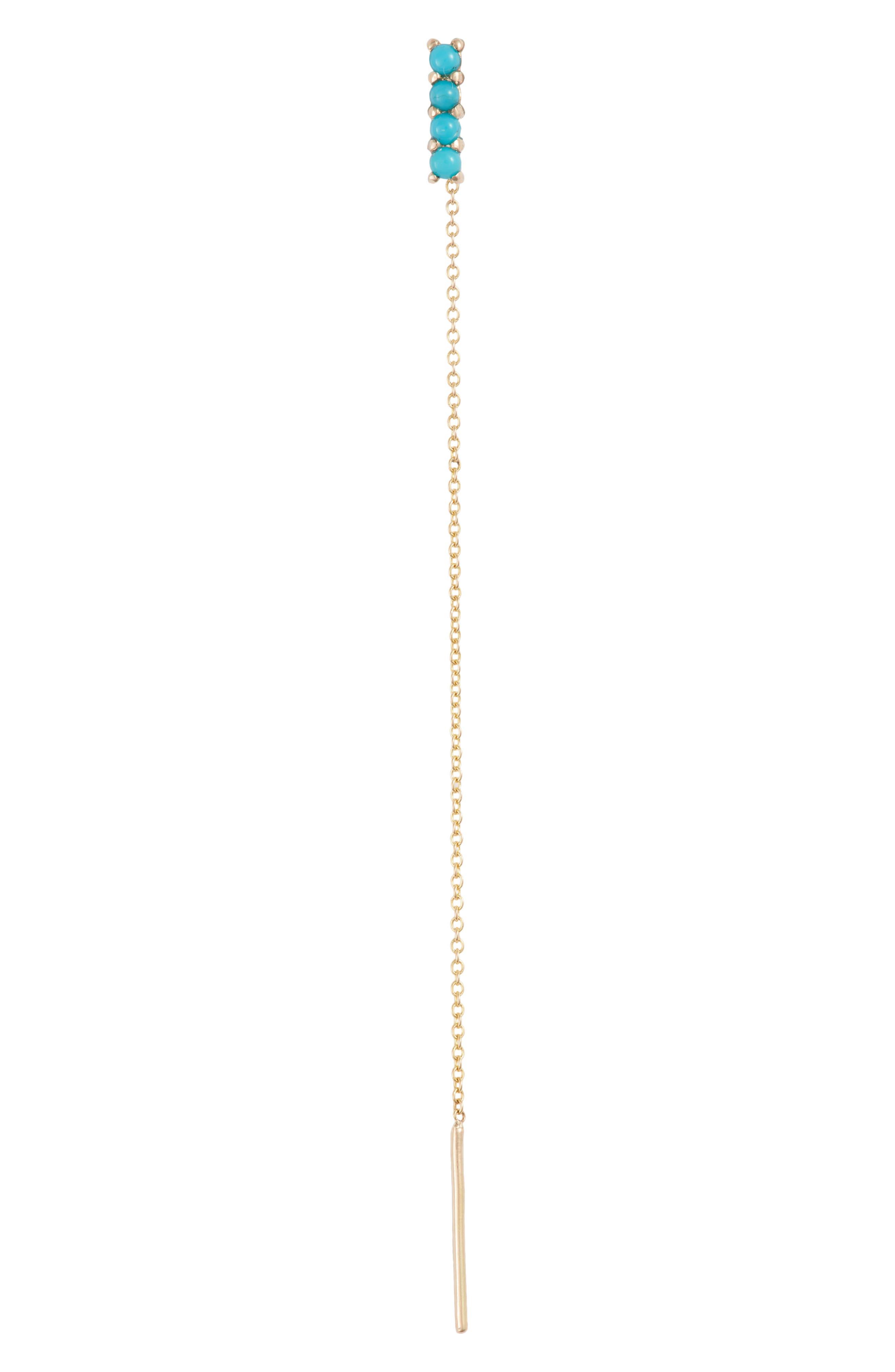 Stone Threader Earring
