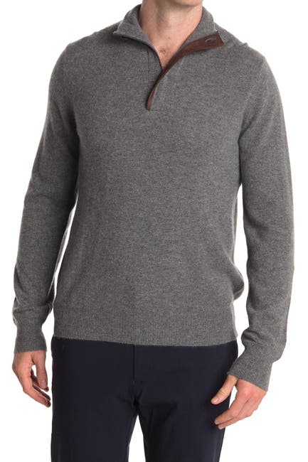 Image of Stewart of Scotland Cashmere Quarter Zip Pullover Sweater