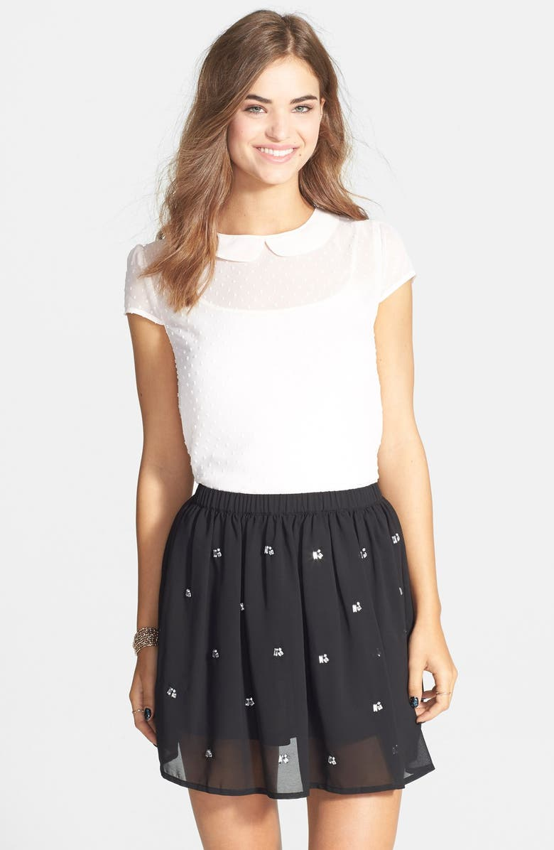 H.I.P. Embellished Skater Skirt, Main, color, 001